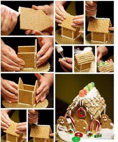 DIY Ideas of Simple Christmas Cookies; Christmas Biscuits, Christmas Baking, Christmas Cookies, Christmas Time, Simple Christmas, Graham Cracker Gingerbread House, Christmas Gingerbread House, Gingerbread House Template, Gingerbread Cookies