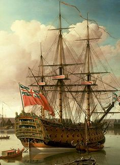 """HMS """"Royal George"""" (3), 100-guns first rate ship of the line launch at Woolwich in 1756"""