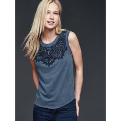 Gap Women Sleeveless Embroidered Tee ($30) ❤ liked on Polyvore featuring tops, t-shirts, indigo, regular, embroidery tops, sleeveless tops, gap tops, embroidered t shirts and blue sleeveless top