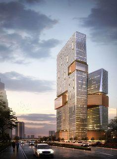 조감도의 형상을 보면 두개의 건축물이 눈에 확보이는 포인트로 여겨지는 건물과건물을 이어주는 주황색의 ...