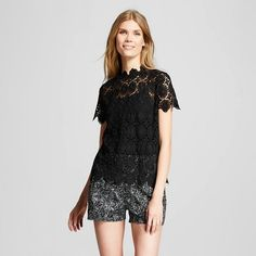 Women's High Neck Lace Top - Who What Wear ™