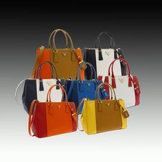 PRADA Galleria Medium Saffiano Luxe Zip Tote Bag BN1801 in double color  www.worldleathers.hk