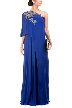 Classic Blue One Shoulder Flare Gown