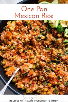This easy and spicy Mexican rice is the perfect one-pot dinner. It's loaded with vegetables and served with avocado and tortilla chips. This recipe is easy, vegetarian and a complete winner in the family meal plan! All ingredients are from Aldi UK so it's budget-friendly and perfect for a one-stop-shop. The post for this recipe has all the step by step photos and all the tips and tricks to make the fluffiest Mexican rice. Aldi Recipes, Slow Cooker Recipes, Dinner Recipes, Vegan Recipes, Midweek Meals, Quick Meals, Simple Meals, Easy Dinners, Family Meal Planning