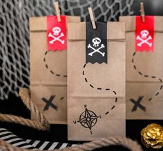 Pirate Party Bags - unique for your children's birthday party! Pirate Party Decorations include a full matching pirate party range!