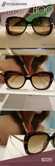 Jimmy Choo Tortoise Sunglasses Tortoise Sunglasses with Amber Gradient Lenses. 100% Authentic. Jimmy Choo Accessories Sunglasses