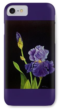 Iris With Purple Ruffles Phone Case by Charlotte Bacon