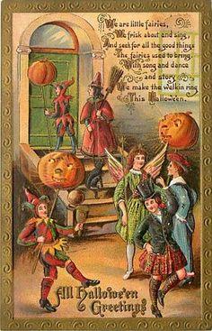 Halloween Fairies Witch Costume Jack O Lanterns mailed 1910 K14631 | eBay