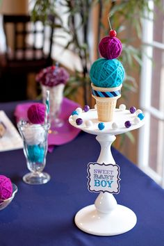 Vintage Sweet Shoppe Baby Shower... More uses for yarn balls... Cou  D be dne for either gender baby shower, birthday party, etc...