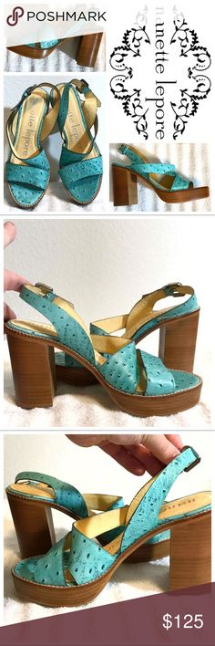 """Nanette Lepore Ostrich Leather Block Heel Sandals Truly one-of-a-kind sandals from Nanette Lepore. These are a """"sample"""" item, they were never released with her regular line and were the only pair ever made. Sandals feature 2 cross-over straps and one ankle strap, in ostrich leather, with a buckle. Color is a teal/turquoise shade. Never worn, small scuff on bottom from being tried on. 3.75"""" stacked wooden block heel. 1"""" platform. Size 7, true to size. Reasonable offers only please. Nanette…"""