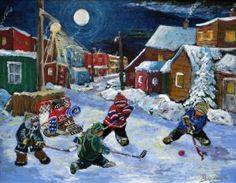 Former NHL hockey player Richard Brodeur's art Montreal Hockey, Street Hockey, Hockey Season, Canada Images, Vancouver Canucks, Canadian Artists, Hockey Players, Winter Scenes, Ice Hockey