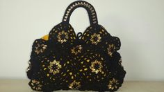Crochet black w gold can tabs hand bag by Ashlea's Designs