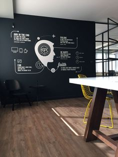 black wall with graphic