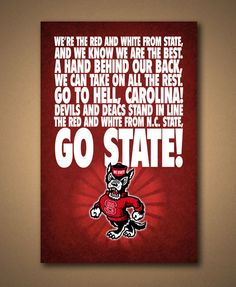 NC State WOLFPACK Fight Song Poster  by ManCaveSportsSigns on Etsy