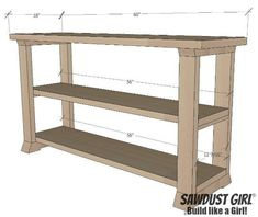 Three shelf console table - free and easy project plans from… Diy Furniture Plans Wood Projects, Building Furniture, Woodworking Furniture, Pallet Furniture, Woodworking Projects, Woodworking Jigs, Cheap Furniture, Furniture Design, Pallet Beds