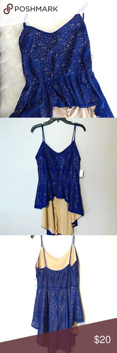 NWT Charlotte Russe Hi Lo Top Beautiful blue on this cutout design top. Cropped in the front, long in the back. Super cute for spring break! 💙 Charlotte Russe Tops