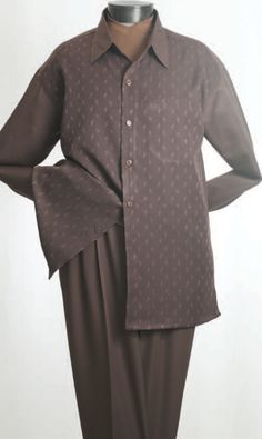 Men's Long Sleeve 2pc Walking Suit with Complementary Solid Colored Collar and Sleeves and Solid Color Double Pleated Pants.