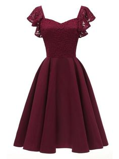 Berydress Elegant Women Dress Butterfly Sleeve Fit and Flare Swing Party Vestidos Burgundy Summer Dresses 2018 Navy Blue Robe Pretty Dresses, Sexy Dresses, Beautiful Dresses, Fashion Dresses, Casual Dresses, Cute Dress Outfits, Red Dresses For Girls, Cheap Dresses, Vintage Dresses For Teens