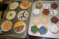 dramatic play: bakery - cute idea: cardboard circles, glue cut out pictures of cookies