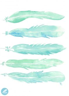 Watercolor Feathers Printable Watermark
