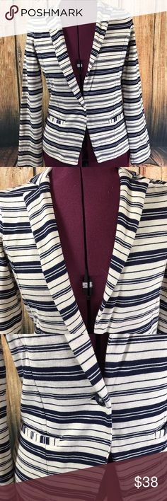 """Lucky Brand Cotton Knit Striped Jacket Blazer Super cute knit jacket by Lucky Brand  Blazer look  Navy blue and off white color striped  Single front button closure  2 Patch pockets on front  Long sleeves  Back vent  100% Cotton  Size XS  Measures 17"""" across bust  Measures 23"""" long from center back  Sleeves measure 23.5"""" long from shoulder seam to cuff  Gently worn, good condition  So comfy and easy to wear! Looks great with skinny jeans! Lucky Brand Jackets & Coats Blazers"""