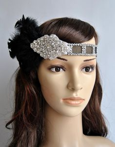 Art Deco Flapper Feather Headband 20's , Vintage Inspired Headpiece, The Great Gatsby Headband, 1920's, 1930's, Feather, Silver, black $43.50