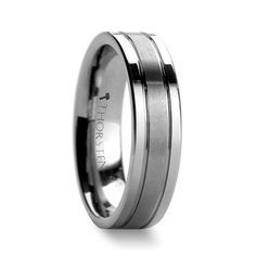 CAMBRIDGE Tungsten Carbide Ring with Brushed Center and Polished Edges 6mm & 8mm