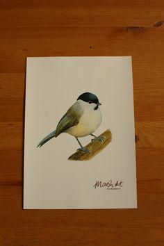 Marsh tit print by VogelBirdDesigns on Etsy