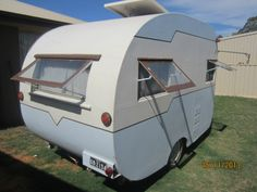 Australian vintage 50s Bondwood Caravan.  Craftsman Built By V.A. Campbell & Co