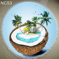 2016 New Summer Large Printed Round 3D Beach Towels With Tassel Circle Beach Towel Serviette De Plage Family Gift