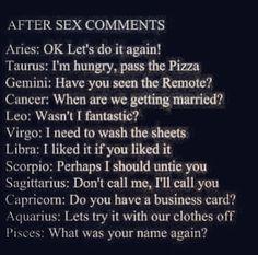 Zodiac after sex comments Capricorn Aquarius Pisces Aries Taurus Gemini Cancer Leo Virgo Libra Sagittarius