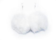 Fluffy Pom-Pom Earrings in White