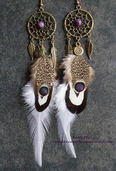 Boucles d'oreilles ethniques plumes  Angeni par Tendancesethniques