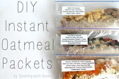 Love these easy, DIY Instant Oatmeal Packets from Cooking with the Books