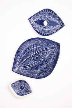 Sgraffito Spirit Eye Platter - Lapis