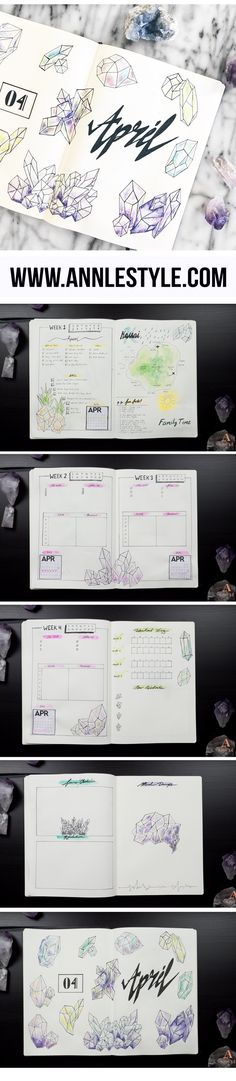 PLAN WITH ME / APRIL BULLET JOURNAL / DIY How to Draw and Paint Crystal Art w/ Watercolor