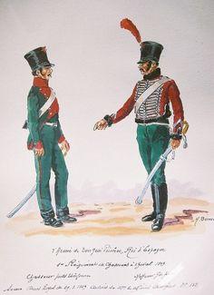 Spanish; Forces of King Jose I(Joseph Bonaparte).1st Chasseus a Cheval, Trooper in Petite Tenue & Sous Officer in Grande Tenue 1809