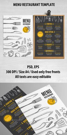 Cafe and Restaurant Menu Template PSD, Vector EPS #design Download…
