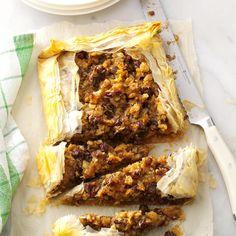 Lemony Walnut-Raisin Galette - I'd prefer pecans or pistachios to the walnuts. Phyllo Dough Recipes, Fig Recipes, Easter Recipes, Lunch Recipes, Cookie Recipes, Recipies, Dinner Recipes, Coconut Meringue Pie, Hanukkah Food