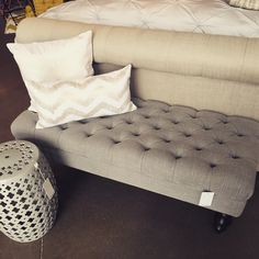 This Penelope bench is Dreamy 🌙 #urbanbarn #ottoman #bench #Penelope #grey #linen #neutrals #cutestuff #new #fresh #shopping #design #decor #interiors #decorating #tufted