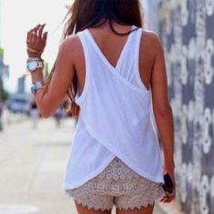 I want a pair of lace shorts but I don't know what top to put with them. Advice fashionista @ Brandy Van Riessen?