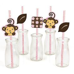 Pink Monkey Girl - Party Straw Decor with Chevron Paper Straws | BigDotOfHappiness.com