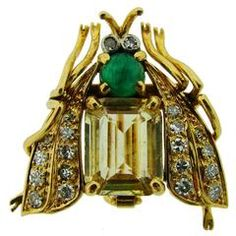$15,300  1950s Van Cleef & Arpels Yellow Sapphire Emerald Diamond Gold Fly Brooch