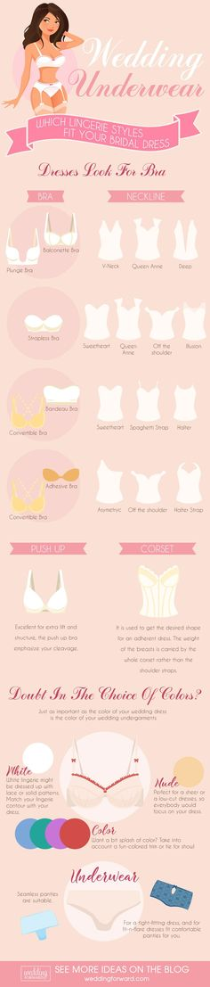 12 Wedding Dress Infographics To Make Your Shopping Easier ❤️ The most useful wedding dress infographics that will help you to make the right choice. Tips on finding the best bridal lingerie that work with the style of your gown and figure. See more: http://www.weddingforward.com/wedding-dress-infographics/ #wedding #dresses #infographics