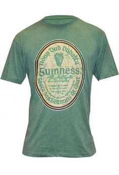 """Sure, and you'll look fine in your heather-green, short-  sleeved tee from Dublin's most famous brewery. The classic  cream label tells anyone who reads Gaelic that you're  partial to """"bottled stout like no other."""" Everyone else will  recognize the harp  and distinctive signature of Arthur Guinness. A soft,  comfortable cotton/polyester blend, pre- shrunk; high-  quality construction. Men's sizes M, L, XL, XXL. Machine  wash."""