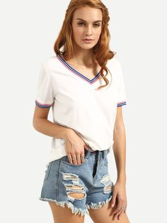 10$  Buy now - http://di1tu.justgood.pw/go.php?t=2852 - White V Neck Short Sleeve T-shirt 10$