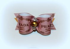7/8 - Mauve ( Designer Inspired ) Bow with Brown Logo Print with Matching Flags. Golden Nugget and Diamond Crystals Centered. by BellasDogBows, $10.99 USD