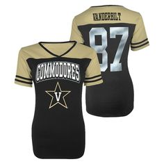 Vanderbilt Commodores Juniors V-Neck Black S, Women's, Size: Small