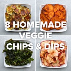 8 Homemade Veggie Chips & Dips // #vegetables #vegetarian #chips #dips #tasty #veggiechips