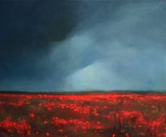 Original Storm over Red Poppy Field Oil Landscape Painting